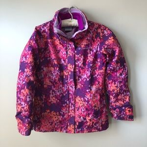 Girls Columbia Jacket Spring Fall Winter Removable Liner Pink Floral M